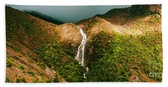 Horsetail Falls In Queenstown Tasmania Beach Towel