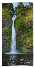 Horsetail Falls In Spring Beach Sheet by Greg Nyquist