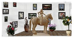 Virtual Exhibition -statue Of Horsewoman 12 Beach Towel by Pemaro