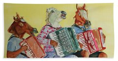 Horsing Around With Accordions Beach Towel