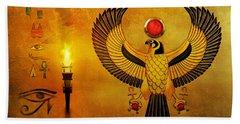 Horus Falcon God Beach Towel
