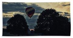Hot Air Balloon Between The Trees At Dusk Beach Sheet