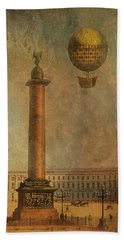 Beach Towel featuring the digital art Hot Air Balloon Over St Petersburg And The Hermitage by Jeff Burgess