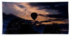 Hot Air Balloon Silhouette At Dusk Beach Sheet