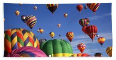Beautiful Balloons On Blue Sky - Color Photo Beach Towel