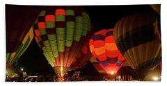 Hot Air Balloons At Night October 28, 2017 #1 Beach Sheet