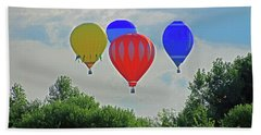 Beach Sheet featuring the photograph Hot Air Balloons In The Sky by Angela Murdock