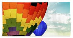 Hot Air Balloons Over Trees Beach Towel