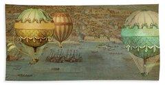Beach Towel featuring the digital art Hot Air Baloons Over Venus by Jeff Burgess