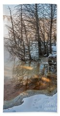 Hot And Cold In Yellowstone Beach Towel by Sue Smith