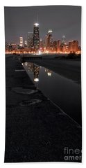 Chicago Hot City At Night Beach Towel