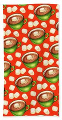 Hot Cocoa Pattern Beach Towel