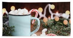 Hot Cocoa With Marshmallows And Candy Canes Beach Sheet by Stephanie Frey