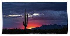 Beach Towel featuring the photograph Hot Pink Saguaro Sunset  by Saija Lehtonen