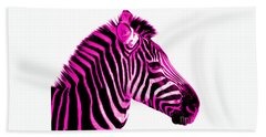 Hot Pink Zebra Beach Towel by Rebecca Margraf