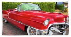 Hot Red 1955 Cadillac Convertible Beach Towel