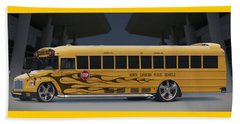 Hot Rod School Bus Beach Towel