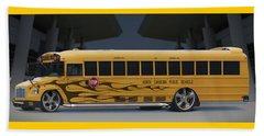 Hot Rod School Bus Beach Sheet