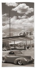 Hot Rods At Roy's Gas Station Sepia Beach Towel