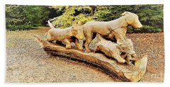 Hounds On The Run Beach Towel by John Williams