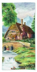 House Along The River Beach Towel