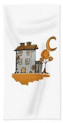 House And Moon Beach Towel
