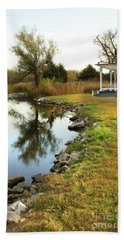House By The Edge Of The Lake Beach Towel by Jill Battaglia