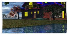 House By The River  Beach Sheet by Mark Blauhoefer