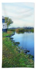 House On A Lake Beach Towel by Jill Battaglia