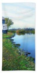 House On A Lake Beach Sheet by Jill Battaglia