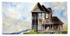 House On Little Lake Street Mendocino Beach Towel