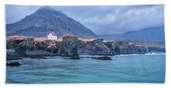 House On Ocean Cliff In Iceland Beach Sheet by Joe Belanger