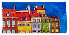 Beach Towel featuring the painting Houses In The Oldtown Of Warsaw by Dora Hathazi Mendes