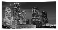 Houston By Night In Black And White Beach Sheet