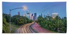 Houston Evening Cityscape Beach Sheet