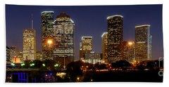 Houston Skyline At Night Beach Sheet