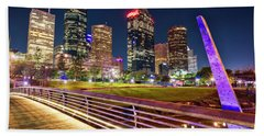 Houston Skyline From Buffalo Bayou Pedestrian Bridge Beach Towel