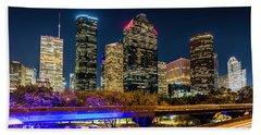 Houston Skyline From I-45 Beach Towel