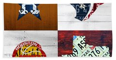 Houston Sports Fan Recycled Vintage Texas License Plate Art Astros Texans Rockets And State Map Beach Towel