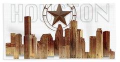 Houston Texas Skyline Beach Towel by Doug Kreuger