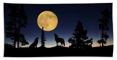 Howling At The Moon Beach Sheet by Shane Bechler