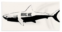 Hug Me Shark - Black  Beach Towel by Pixel  Chimp