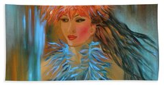 Hula In Turquoise Beach Towel by Jenny Lee