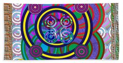 Hula Hoop Circles Tubes Girls Games Abstract Colorful Wallart Interior Decorations Artwork By Navinj Beach Towel by Navin Joshi