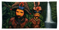 Huli Men In The Jungle Of Papua New Guinea Beach Towel