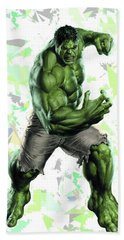Beach Sheet featuring the mixed media Hulk Splash Super Hero Series by Movie Poster Prints