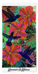 Hummers And Hibicus 24x16 Beach Towel