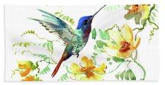 Hummibgbird And Yellow Flowers Beach Towel