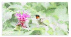 Humming Bird And Bee Balm Beach Sheet