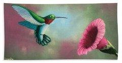 Humming Bird Feeding Beach Sheet by Brenda Bonfield